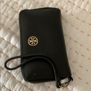 Tory burch leather black wallet